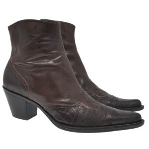 Franco Sarto Sz 8M Brown Leather Lizard Skin Boots